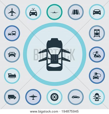 Vector Illustration Set Of Simple Shipment Icons. Elements Aero, Electric Vehicle, Transport And Other Synonyms Highway, Trailer And Tire.