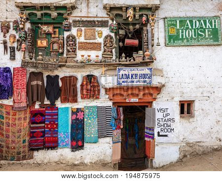 Leh, Ladakh, India, July 12, 2016: souvenir store display in Leh, Ladakh district of Kashmir, India