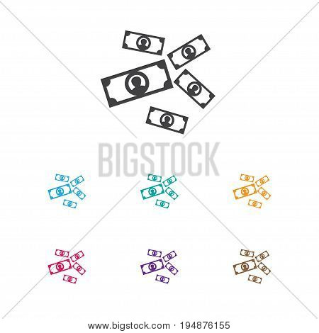 Vector Illustration Of Gambling Symbol On Bucks Icon. Premium Quality Isolated Greenback Element In Trendy Flat Style.