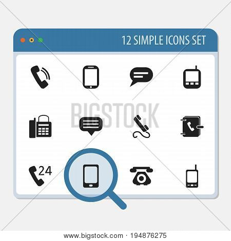 Set Of 12 Editable Device Icons. Includes Symbols Such As Phone, Address Notebook, Smartphone And More. Can Be Used For Web, Mobile, UI And Infographic Design.