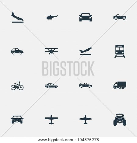 Vector Illustration Set Of Simple Transportation Icons. Elements Plane, Airliner, Carriage And Other Synonyms Mini, Cab And Descent.