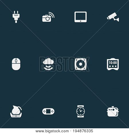Vector Illustration Set Of Simple Smart Icons. Elements Control Device, Electric Stove, Loudspeaker And Other Synonyms Electronic, Clock And Computer.
