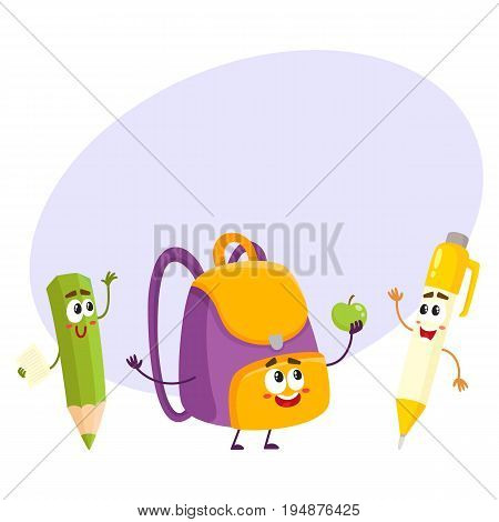 Cute and funny smiling pen, pencil, backpack characters, back to school concept, cartoon vector illustration with space for text. Happy school characters, mascots - school bag, pen and pencil