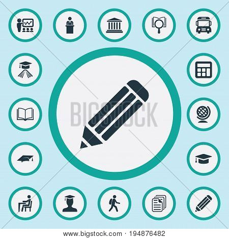 Vector Illustration Set Of Simple Education Icons. Elements Cap, Courthouse, Files And Other Synonyms Student, Knowledge And Presentation.