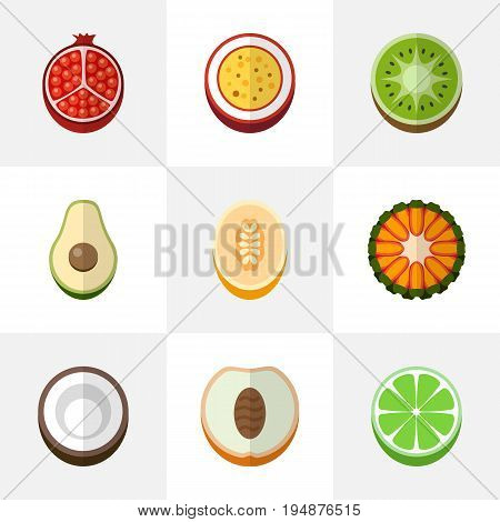 Set Of 9 Editable Dessert Icons. Includes Symbols Such As Garnet, Cocos, Marakuja And More. Can Be Used For Web, Mobile, UI And Infographic Design.