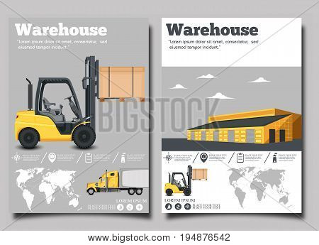 Warehouse flyer set with forklift truck vector illustration. Cargo logistics and delivery transportation. Yellow forklift truck with box, storehouse building, local or global shipment.
