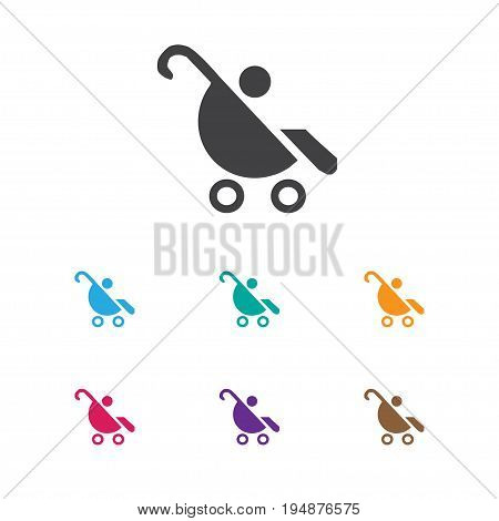 Vector Illustration Of Kid Symbol On Baby Stroller Icon. Premium Quality Isolated Pram Element In Trendy Flat Style.