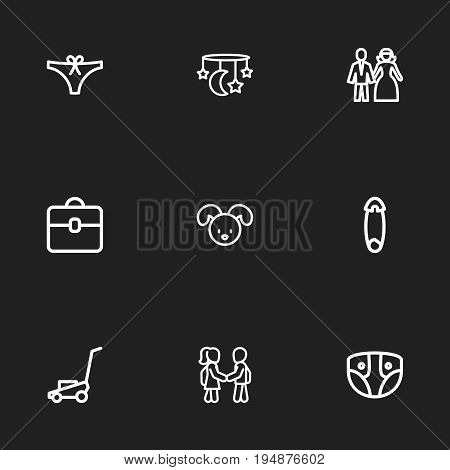 Set Of 9 Editable Kin Icons. Includes Symbols Such As Dog, Grass Cutting Machine, Fasten And More. Can Be Used For Web, Mobile, UI And Infographic Design.