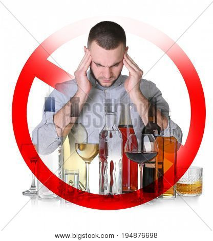 Collage of alcohol drinks in glassware, young man with headache and STOP sign on white background