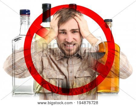 Collage of alcohol drinks in bottles, young man with headache and STOP sign on white background