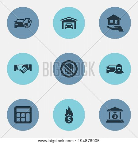 Vector Illustration Set Of Simple Fuse Icons. Elements Contract, Vehicle Assurance, Bankroll And Other Synonyms Friendship, Money And Skull.