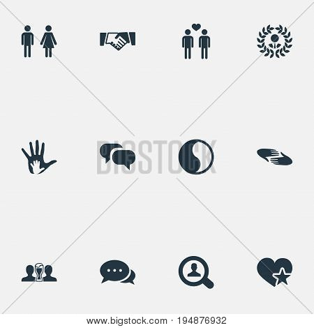 Vector Illustration Set Of Simple Fellows Icons. Elements Charity, Balance, Homosexual And Other Synonyms Accord, Order And Balance.