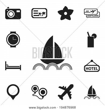 Set Of 12 Editable Travel Icons. Includes Symbols Such As Wristwatch, Lemonade, Photography And More. Can Be Used For Web, Mobile, UI And Infographic Design.