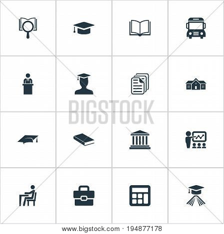 Vector Illustration Set Of Simple School Icons. Elements Slideshow, Adding Machine, Hat And Other Synonyms Academy, Disciple And Computation.
