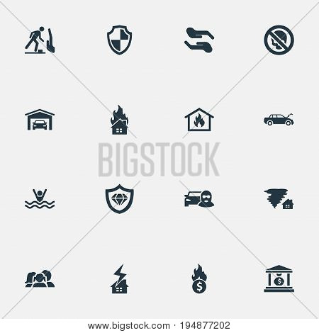 Vector Illustration Set Of Simple Warrant Icons. Elements Maintenance, Vehicle Assurance, Tornado And Other Synonyms Hurricane, Blaze And Maintenance.