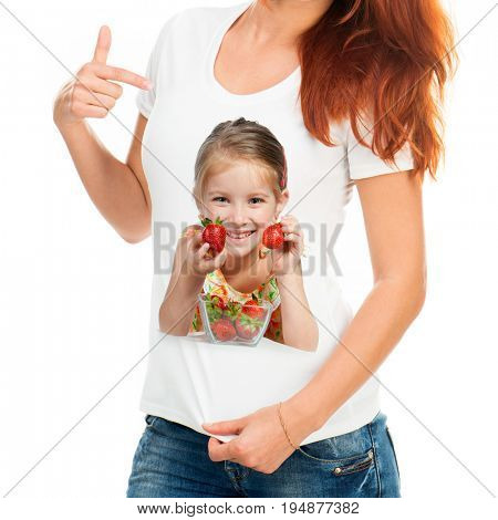 Plain white cotton t-shirt with a print of a lovely smiling child with strawberries