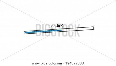 modern loading blue bar on white background.