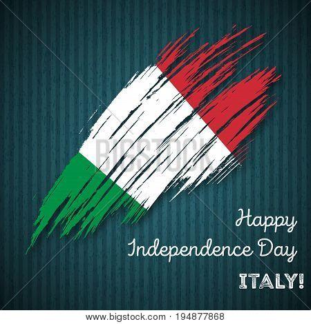 Italy Independence Day Patriotic Design. Expressive Brush Stroke In National Flag Colors On Dark Str