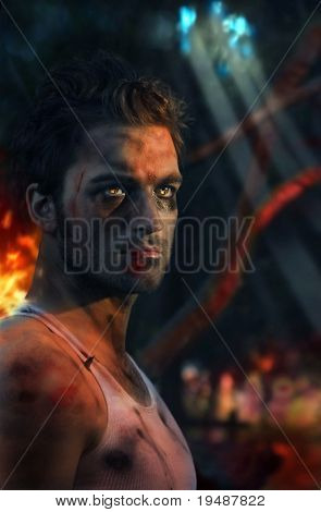 Stylized portrait of young soldier with flames in his eyes (slight red fire lighting on subject)