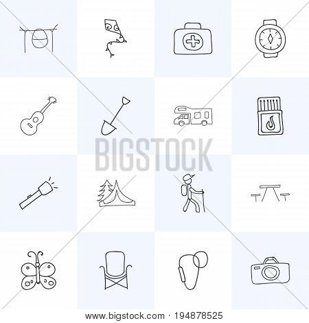 Set Of 16 Editable Trip Icons. Includes Symbols Such As Carabine, Caravan, Flammable Stick And More. Can Be Used For Web, Mobile, UI And Infographic Design.