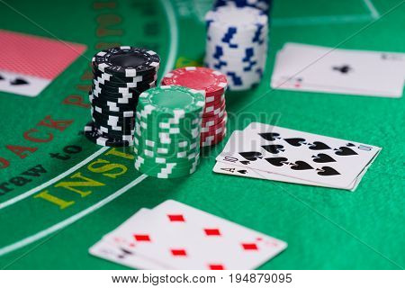 Black Jack casino table with cards and  chips
