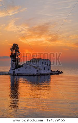 Mouse Island, Corfu, Greece. Vlacherna Monastery on the Kanoni peninsula in Corfu at sunrise