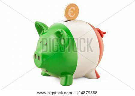 Investments in Italy. Piggy bank with flag and golden euro coin business concept. 3D rendering
