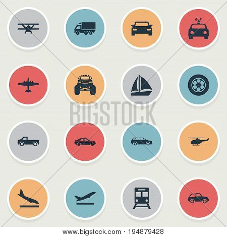 Vector Illustration Set Of Simple Transportation Icons. Elements Small Automobile, Aero, Police Car And Other Synonyms Chopper, Automobile And Yacht.