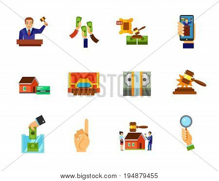 Auction icon set. Auctioneer Raising money Lot Internet auction Interior Sold sound Building auction Bidder hand. Contains bonus icons of Mortgage Dollar pack Donation box Number one gesture