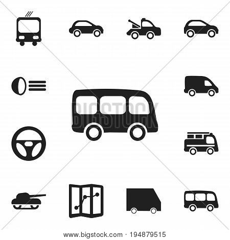 Set Of 12 Editable Transport Icons. Includes Symbols Such As Auto, Weapon, Car Vehicle And More. Can Be Used For Web, Mobile, UI And Infographic Design.