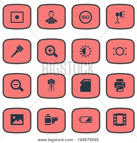 Vector Illustration Set Of Simple Photographic Icons. Elements Magnifying, Photograph, Inkjet And Other Synonyms Brightness, Brilliance And Removable.