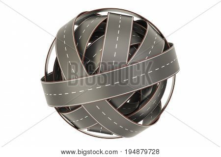roads knot tangled ball of roads. 3D rendering isolated on white background