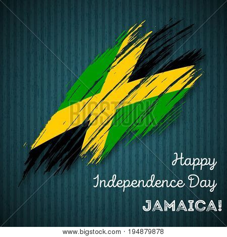 Jamaica Independence Day Patriotic Design. Expressive Brush Stroke In National Flag Colors On Dark S