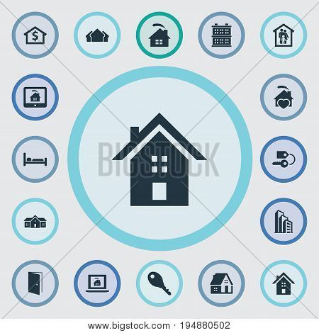 Vector Illustration Set Of Simple Real Icons. Elements Apartment, Online Property, Real Estate Database And Other Synonyms Protection, Estate And Business.
