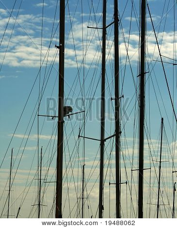 Early morning. Yachts yet do not send in the sea. Silhouettes of masts in port. Romantic photo