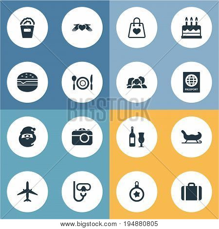 Vector Illustration Set Of Simple Festal Icons. Elements Supper, Pastry, Travel Document And Other Synonyms International, Holiday And Snorkeling.