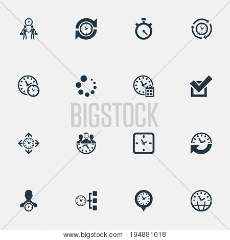 Vector Illustration Set Of Simple Time Icons. Elements Approve, Interval, Timer And Other Synonyms Yes, Coordination And Interval.