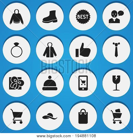 Set Of 16 Editable Business Icons. Includes Symbols Such As Boot, Hatband, Sheath. Can Be Used For Web, Mobile, UI And Infographic Design.
