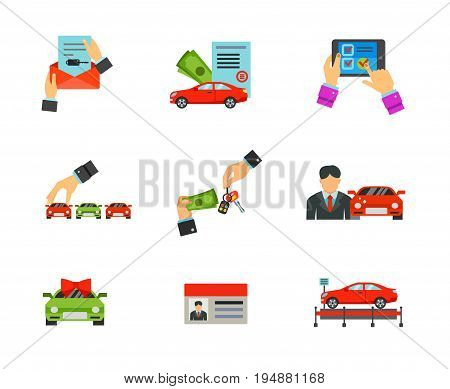 Car dealership icon set. Car document Loan approved Choosing car Buying automobile Salesman Special offer Driver license Exhibition pavilion. Contains bonus icon of Online shopping