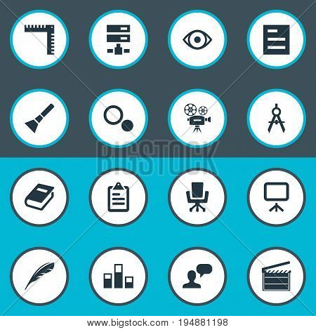 Vector Illustration Set Of Simple Design Icons. Elements Occupation, Settings, Measurement And Other Synonyms Lantern, Blueprint And Action.