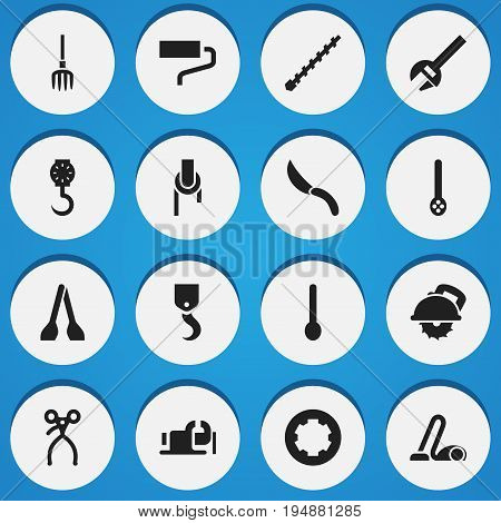 Set Of 16 Editable Tools Icons. Includes Symbols Such As Nippers, Bore, Cutter Machine And More. Can Be Used For Web, Mobile, UI And Infographic Design.