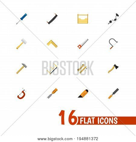 Set Of 16 Editable Instrument Icons. Includes Symbols Such As Bit, Nag, Hammer And More. Can Be Used For Web, Mobile, UI And Infographic Design.