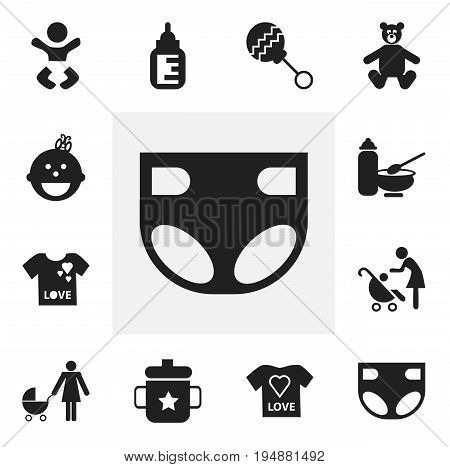 Set Of 12 Editable Baby Icons. Includes Symbols Such As Nappy, Beanbag, Young Fashion And More. Can Be Used For Web, Mobile, UI And Infographic Design.