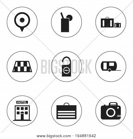 Set Of 9 Editable Holiday Icons. Includes Symbols Such As Caravan, Photo Cam, Lemonade And More. Can Be Used For Web, Mobile, UI And Infographic Design.