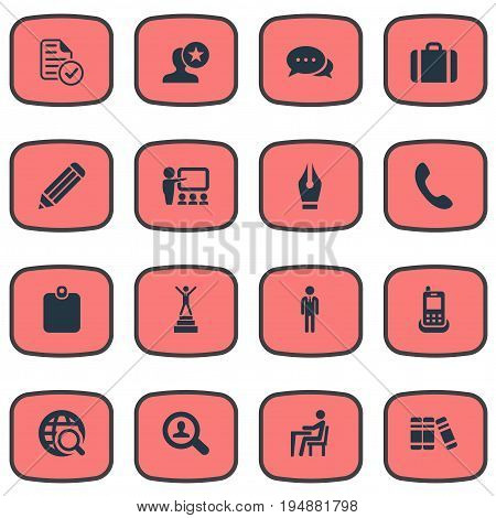 Vector Illustration Set Of Simple Human Icons. Elements Quest In World, Presentation, Winner And Other Synonyms Career, Employee And Demonstration.