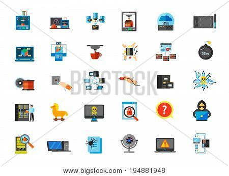 Computer icon set. 3d-printing concept Data center concept Network concept Drawing tablet Bioprinter Server maintenance Socket Usb Catalog Engineer Hacking Password Question Inspection Web camera