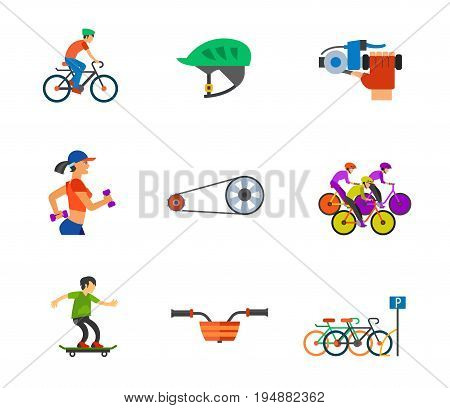 Cycling icon set. Cycling man Bike helmet Bike bell Bicycle chain Cycling race Bike basket Bicycle parking. Contains bonus icon of Jogging woman and Skateboarder
