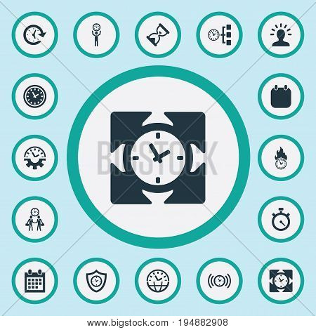 Vector Illustration Set Of Simple Time Icons. Elements Progress, Intellect, Velocity And Other Synonyms Management, Mind And Meeting.