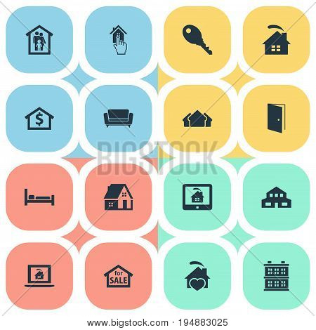 Vector Illustration Set Of Simple Estate Icons. Elements Real Estate Database, Residential, Capital And Other Synonyms Lock, Property And Open.