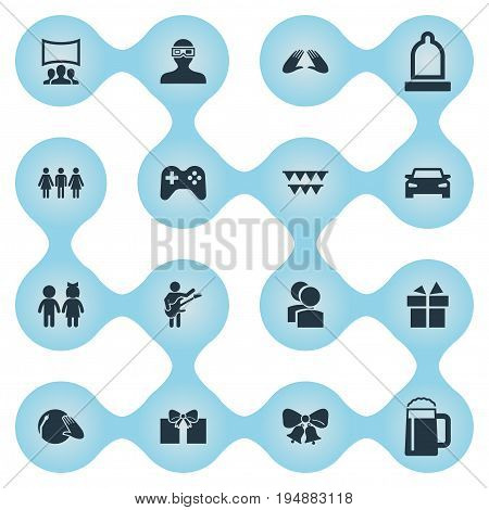 Vector Illustration Set Of Simple Celebration Icons. Elements Cinema, Audience, Guitar Player And Other Synonyms Gift, Car And Movie.